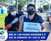 Mais de 1100 pessoas receberam a 2ª dose da Coronavac em 2 dias de ação